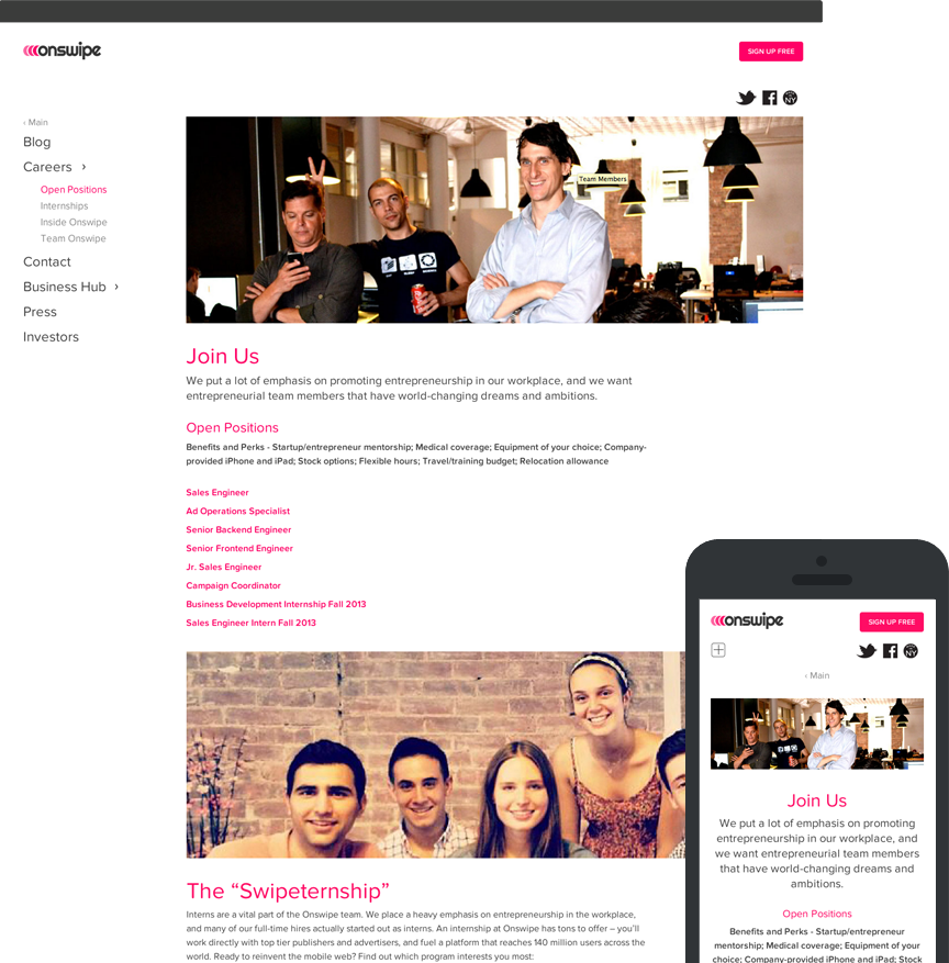 Onswipe backend pages